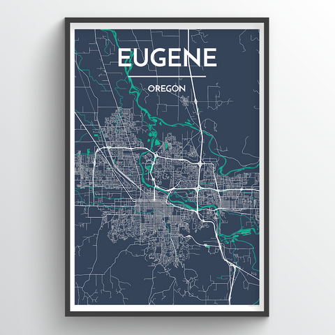 Affordable wholesale art prints of Eugene - City Map Art Print