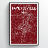 Affordable wholesale art prints of Fayetteville - City Map Art Print