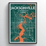 Affordable wholesale art prints of Jacksonville - City Map Art Print
