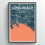 Affordable wholesale art prints of Long Beach - City Map Art Print