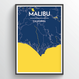 Affordable wholesale art prints of Malibu - City Map Art Print