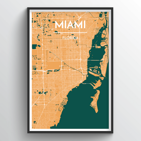 Affordable wholesale art prints of Miami - City Map Art Print
