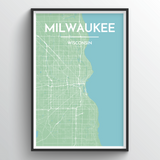 Affordable wholesale art prints of Milwaukee - City Map Art Print