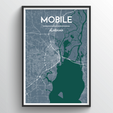 Affordable wholesale art prints of Mobile - City Map Art Print