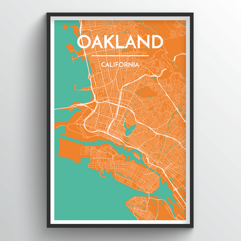 Affordable wholesale art prints of Oakland - City Map Art Print
