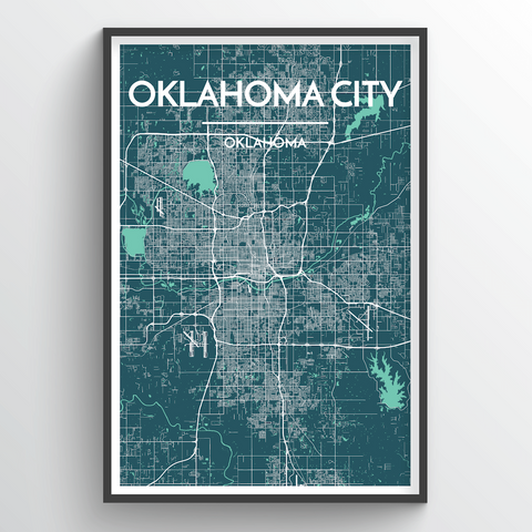 Affordable wholesale art prints of Oklahoma City - City Map Art Print