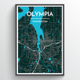 Affordable wholesale art prints of Olympia - City Map Art Print
