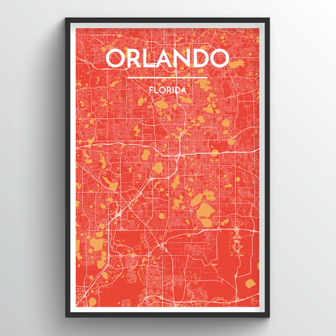 Affordable wholesale art prints of Orlando - City Map Art Print