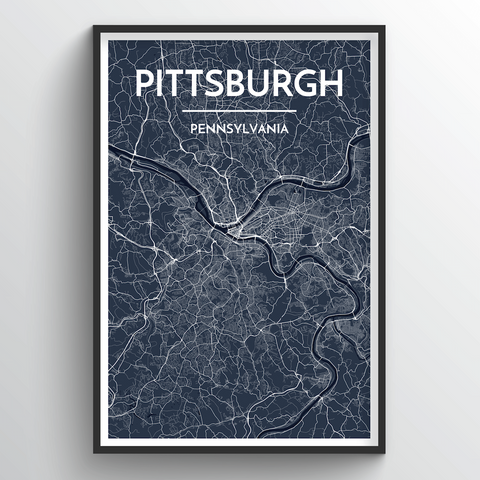 Affordable wholesale art prints of Pittsburgh - City Map Art Print