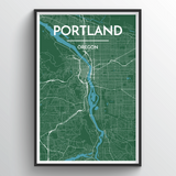 Affordable wholesale art prints of Portland - Oregon - City Map Art Print