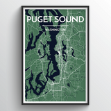Affordable wholesale art prints of Puget Sound - City Map Art Print
