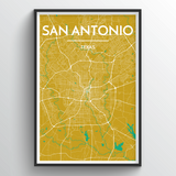 Affordable wholesale art prints of San Antonio - City Map Art Print