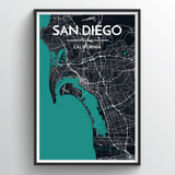 Affordable wholesale art prints of San Diego - City Map Art Print
