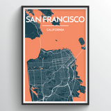 Affordable wholesale art prints of San Francisco - City Map Art Print