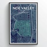 Affordable wholesale art prints of San Francisco Neighborhoods - City Map Art Print