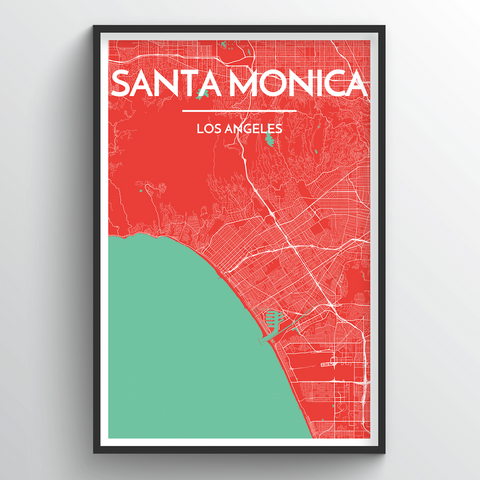 Affordable wholesale art prints of Santa Monica - City Map Art Print