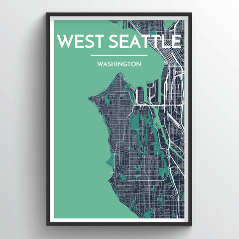 Affordable wholesale art prints of West Seattle Neighbourhood - City Map Art Print