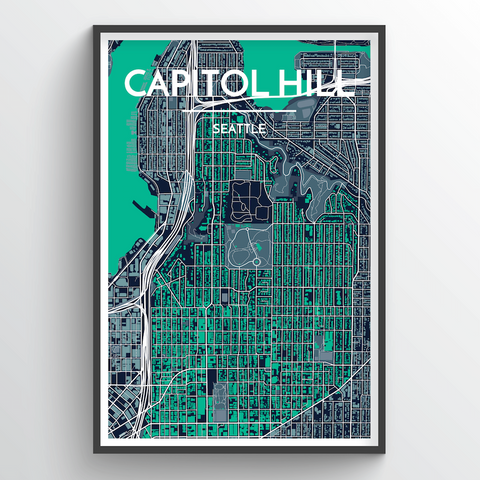 Affordable wholesale art prints of Seattle Neighborhoods - City Map Art Print