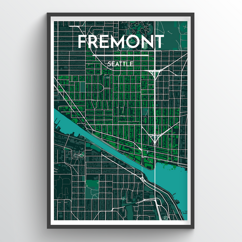 Affordable wholesale art prints of Fremont - Seattle - City Map Art Print