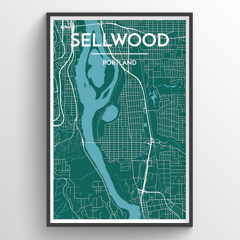 Affordable wholesale art prints of Sellwood - City Map Art Print