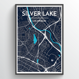 Affordable wholesale art prints of Silver Lake - City Map Art Print