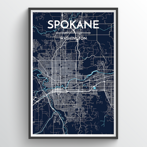 Affordable wholesale art prints of Spokane - City Map Art Print
