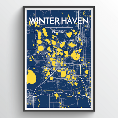 Affordable wholesale art prints of Winterhaven - City Map Art Print