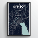 Affordable wholesale art prints of Annecy - City Map Art Print