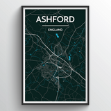 Affordable wholesale art prints of Ashford - City Map Art Print