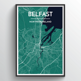 Affordable wholesale art prints of Belfast - City Map Art Print
