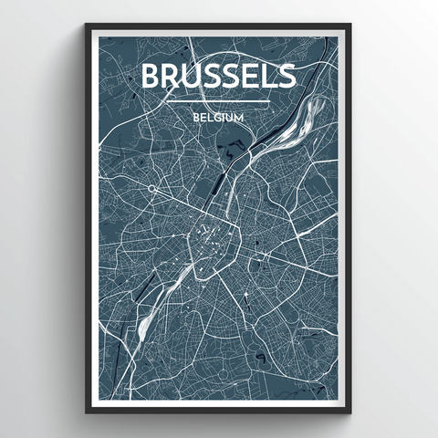 Affordable wholesale art prints of Brussels - City Map Art Print