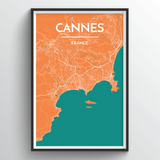 Affordable wholesale art prints of Cannes - City Map Art Print