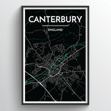 Affordable wholesale art prints of Canterbury - City Map Art Print