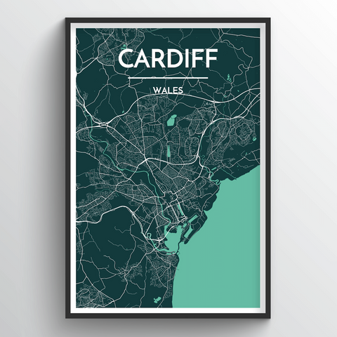 Affordable wholesale art prints of Cardiff - City Map Art Print