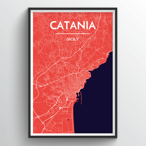 Affordable wholesale art prints of Catania - City Map Art Print