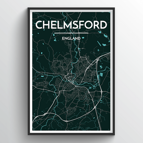 Affordable wholesale art prints of Chelmsford - City Map Art Print