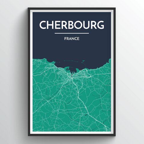 Affordable wholesale art prints of Cherbourg - City Map Art Print