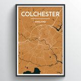 Affordable wholesale art prints of Colchester - City Map Art Print