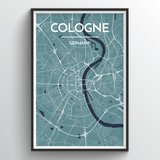 Affordable wholesale art prints of Cologne - City Map Art Print