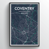 Affordable wholesale art prints of Coventry - City Map Art Print