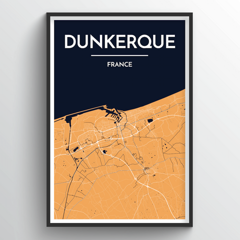 Affordable wholesale art prints of Dunkerque - City Map Art Print