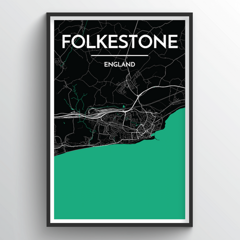 Affordable wholesale art prints of Folkeston - City Map Art Print
