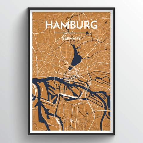 Affordable wholesale art prints of Hamburg - City Map Art Print