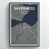 Affordable wholesale art prints of Inverness - City Map Art Print