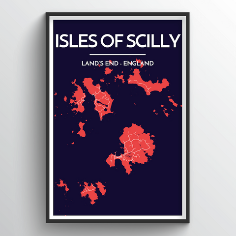 Affordable wholesale art prints of Isles of Scilly - City Map Art Print