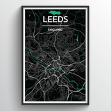Affordable wholesale art prints of Leeds - City Map Art Print