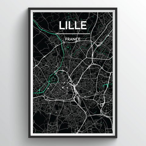 Affordable wholesale art prints of Lille - City Map Art Print