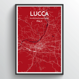 Affordable wholesale art prints of Lucca - City Map Art Print