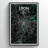Affordable wholesale art prints of Lyon - City Map Art Print