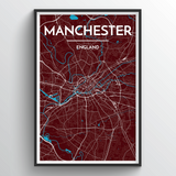 Affordable wholesale art prints of Manchester - City Map Art Print